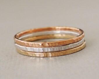 Textured Stacking Rings rose gold ring - gold ring - silver ring mixed metal rings stacking ring thumb ring gold ring