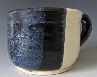 Pottery Mug. 11oz. Black Gloss. White Gloss. Pale Blue-Gray Speckle. White over Black Gloss. Coffee. Tea. Cocoa. Starry Night. Hand Thrown.