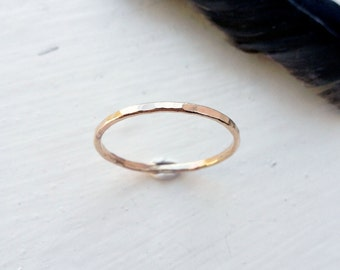 14K Gold Hammered Reflection Textured Stacking Wedding Band