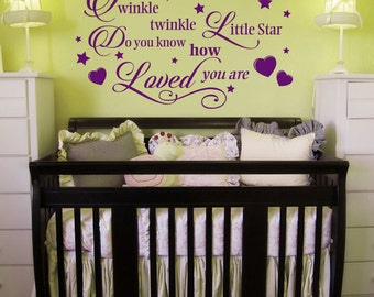 Twinkle Twinkle Little Star, Nursery Rhyme Decor, Wall Decal for Nursery,  Children's Bedroom Decor, Baby Room Vinyl decal
