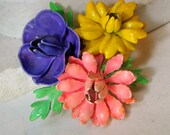 1960s Easter Spring Flower Power Pin, Metal Large 3 Flower Brooch, Pink, Purple, Yellow, Pop Funky Blossom Colors and Green Leaves