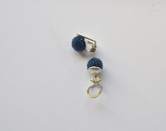 Clip on earrings night blue sterling silver and glass  beads