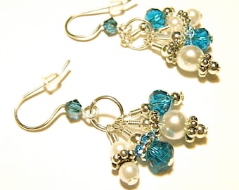 30% OFF --- Pearl and Teal Blue Dangles Silver Earrings