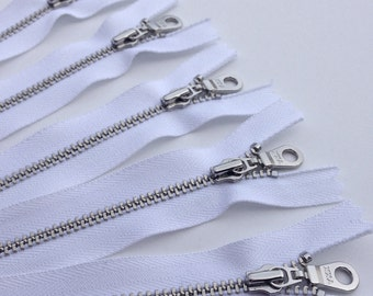 YKK metal zippers with silver nickel teeth and donut style pull- (5) pieces - White Color 501- Available in 6, 8, and 10 inch