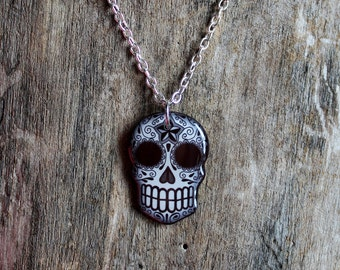 CLEARANCE - Black and Grey Filigree Sugar Skull Necklace with small Swallow - Day of the Dead Calavera