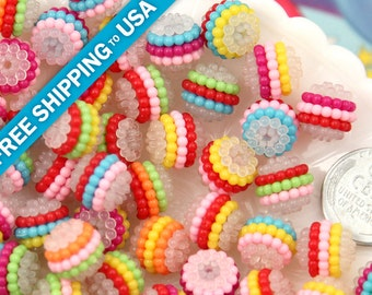 12mm Small Colorful Berry Beads, Rainbow Stripe Acrylic or Resin Bead, mixed color, small to medium size beads - 25 pc set