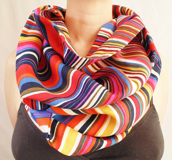 colorful summer scarf infinity scarf blue pink yellow
