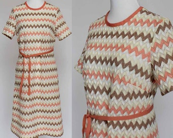 70's A-Line Shift Dress / Coral & Tan Chevron / Pointelle Knit / Tie Belt / Small to Medium