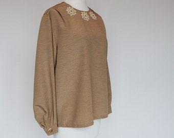 SALE - 80's Jewel Neck Blouse / Crochet Trim / Long Sleeves / Tan / Large