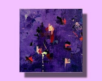 Small contemporary art abstract painting modern purple indigo
