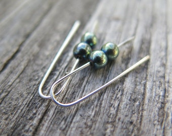 blue green hematite earrings. small silver earings.
