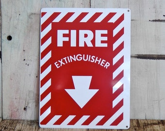 Fire Extinguisher directional emergency text and symbol geometric spray painted graphic design sign aluminum found objects repurpose supply
