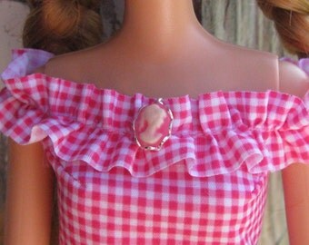 "Bright Pink Cameo Doll Pin Brooch for most sized Fashion Dolls 1/6th Scale 11 1/2"" - 12 inch"