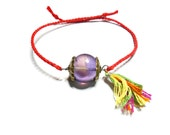 Simple thin red braided amethyst good luck antique gold wire findings colorful tassel indie hipster coachella celebrity free people inspired