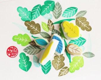 leaf stamp set. leaf hand carved rubber stamp. wedding tree guestbook stamp. nature inspired design gift wrapping. diy crafts. set of 5. no1