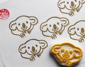 smiling koala hand carved rubber stamp. australian wildlife animal stamp. diy birthday christmas scrapbooking. australia day crafts