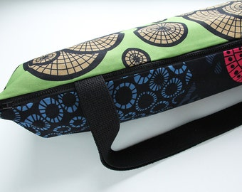 Yoga Mat Bag with Zipper and Pocket in Pink, Blue, and Purple Circles on Green WITH POCKET