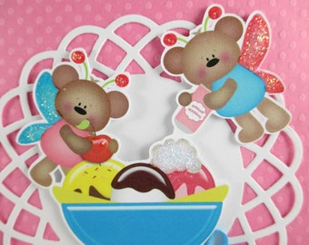 Girls birthday card, kids birthday, teddy bear, fairy, ice cream, embossed birthday PERSONALIZED card