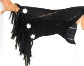 BOLERO SHAWL Black Long Tasseled Boho Wrap with White Knit Flowers Southwestern Clothing