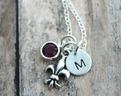 Personalized Charm Necklace with Sterling Silver Fleur De Lis  and Initial Charm, Swarovski Crystal Birthstone Lily