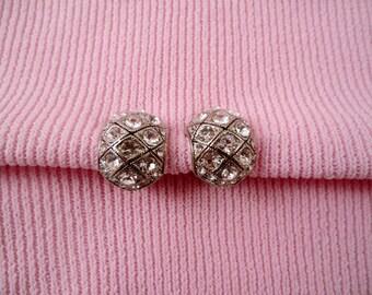 Silvertone Clear Rhinestone Clip Earrings