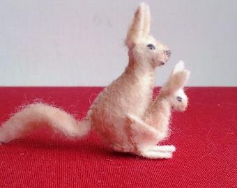Tiny Kangaroo -- miniature felt micro plush ornament decoration collectible mother baby joey animals stuffed