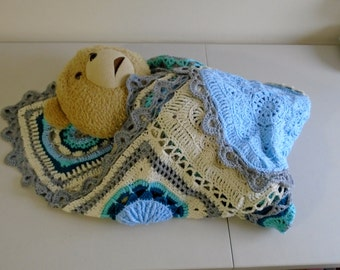 blue gray white baby crochet blanket