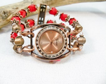 Copper Crystal Watch, Stretch Watch Band, Copper and Red Interchangeable Watch, Watch Bracelet, Copper Wrist Watch
