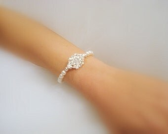 Bridal bracelet, Wedding jewelry, Wedding bracelet, Rhinestone bracelet, Bridesmaid bracelet, Crystal bracelet, Cuff bracelet, Vintage style