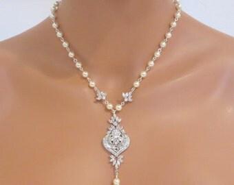 Crystal Bridal Necklace, Pearl wedding necklace, Bridal jewelry, Crystal necklace, Art Deco necklace, Rhinestone necklace, Vintage, EMMA