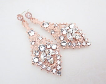 Rose Gold Bridal earrings, Crystal Wedding earrings, Chandelier earrings, Wedding jewerly, Swarovski crystal earrings, Art Deco earrings