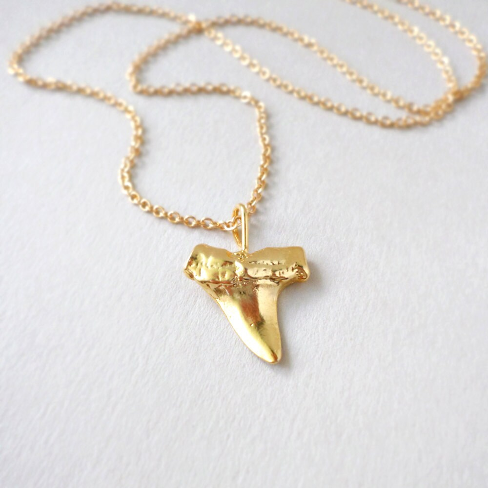 sale gold shark tooth necklace boho jewelry sharktooth