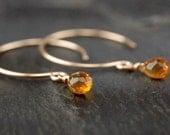 Tiny citrine dangle earrings, citrine drop earring, 14k gold filled handmade jewelry, November birthstone