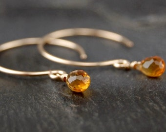 Tiny citrine dangle earrings, citrine drop earring, 14k gold filled handmade jewelry, November birthstone
