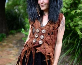 Felt Melted Shaman Dryad Princess Of The Wolves Fur Trimmed Pixie Pointed Hood Woodland Nymph Vest OOAK