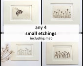 """set any 4 small original etchings, including mat 5 x 7"""""""