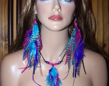 Matching set Earrings and Necklace, Feather Set, Feather Extensions, Feather Earrings, Kaleidoscope Color Feather Extensions Earrings, Long