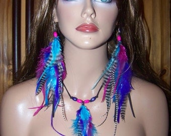 Festival Feather Earrings, 4th of July,  Earrings and Necklace, Pink and Blue Feather Earrings, Hippie Feather Earrings, Long