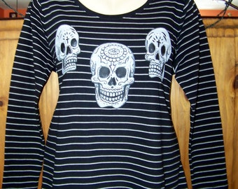 Women's plus size 1X, Black and White Pin Stripe, Tribal, Plus Size Day of the Dead, Tee, t-shirt, knit top, Plus Size Women's Clothing, XL
