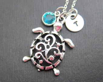 Turtle Filigree Necklace - Personalized Initial Name, Customized Swarovski crystal birthstone