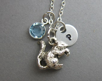Baby Squirrel Necklace - Handstamped initial personalized name, Customized Swarovski crystal birthstone