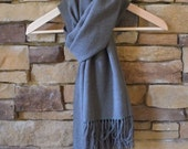 Oversized Handwoven Merino Shawl Scarf with Silk