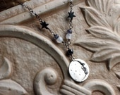 Moon Necklace with Stars, Moonstone Necklace, Mother's Day, Oxidized Sterling Silver - Goodnight Moon by CircesHouse on Etsy