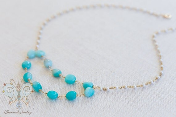 Amazonite and Pearl Necklace