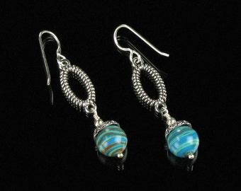 Turquoise Calsilica Stone & Silver Drop Earrings - Oval Dangle Earrings - Blue Boho Earrings - Unique Gift Jewelry for Women - Gift for Her