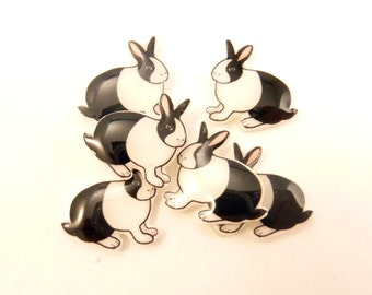 "6 NO HOLE Mirror Image Black and White Rabbit Glue On Hair Bow Buttons.  Supply for Earrings, Hair Clips, Scrapbooking.  5/8"" or 17 mm wide."