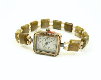 Petite Beaded Stretchy Bracelet Watch - Brown Opal and Crystal Copper Czech Glass