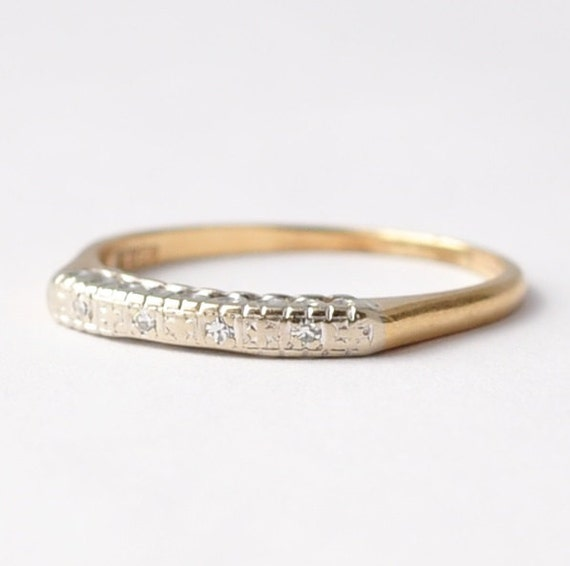 Vintage Diamond 14k Gold Wedding Band Simple Cheap Womens