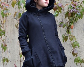 Winter Coat Black, Wool Coat, Womens Coat, Black Coat, Big Hood Jacket, Black Hooded Coat, Asymmetrical Coat, Designer Coat, Black Blazer