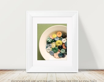 Buttons Photography, Vintage Buttons, Still Life Photograph, Tropical Colors, Craft Room Decor, Sewing Decor, Retro, Button Picture, Art